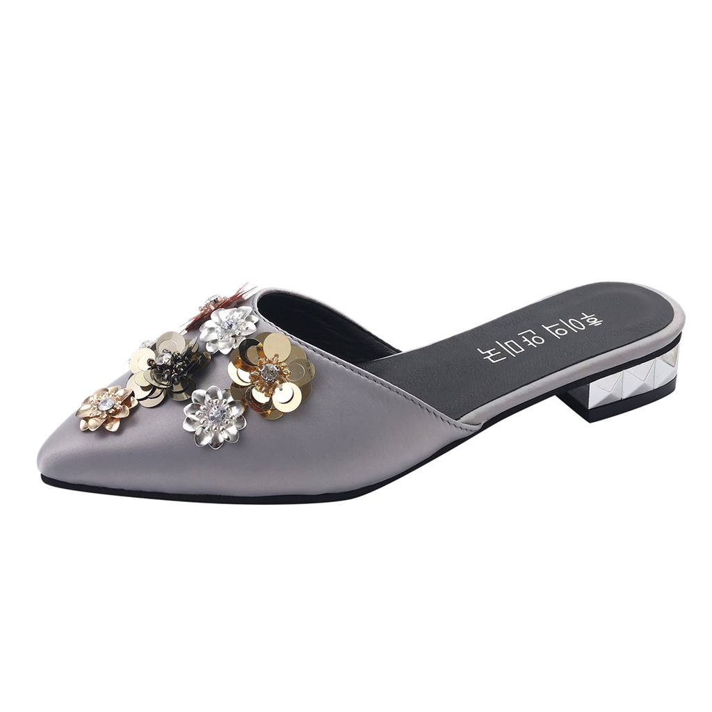 SAGACE Simple Women Fashion Silk Floral Outdoor Slippers Square Heels Wedding Flower Shape Sequins Solid Color Pointed Toe Shoes