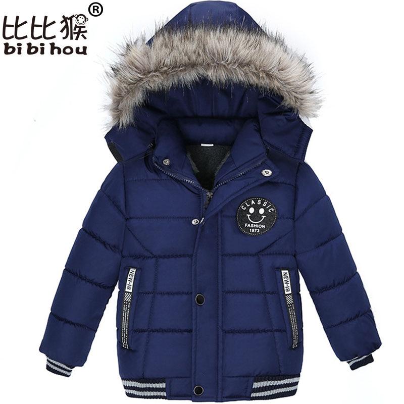 Bibihou 2017 Winter Hooded Down jacket for girls outerwear boys coat Suit Outwear Kids Clothes snow wear snowsuit parka Smiley