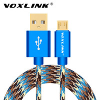VOXLINK Nylon Braided Micro USB Cable Fast Charge Mobile Phone Android USB Data Charger Cable For Samsung Xiaomi Huawei MEIZU LG
