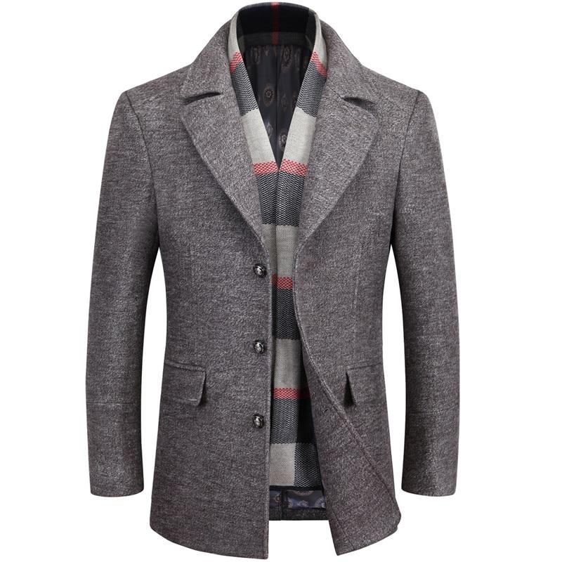 2019 new arrival winter high quality wool casual gray trench coat men,men's winter warm coat,winter jackets men