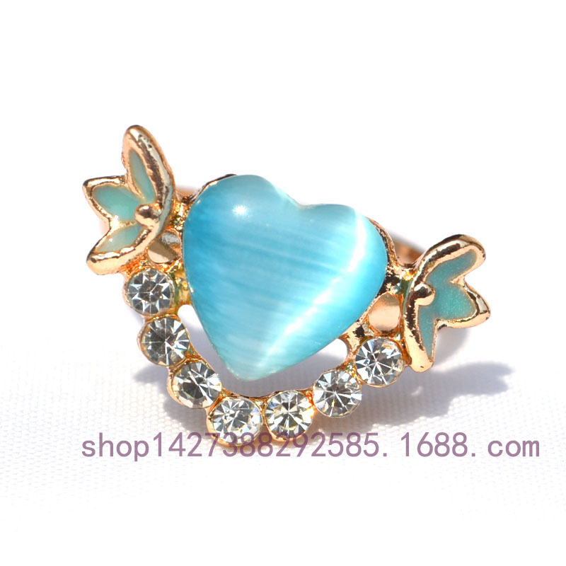 High quality Austria Crystal Heart Shape Opal Painted Fashion Rings for Lady Rose Gold Color Engagement alliance Women Jewelry