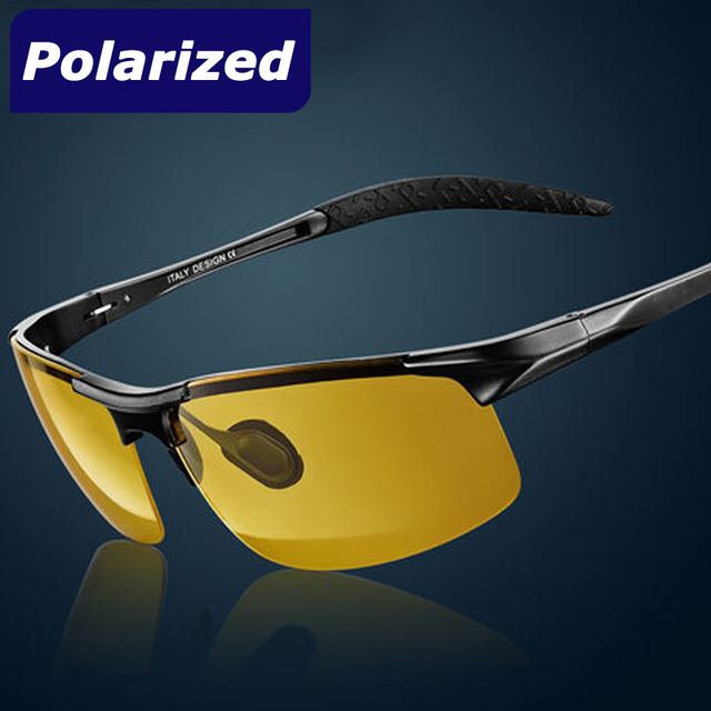 New Men Polarized Sport Night Vision Goggles UV400 Polarized Aluminum Magnesium Alloy frame Sunglasses Driving Glasses