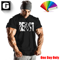 fashion Men clothing t-shirt Cotton Bodybuilding Fitness short sleeve t shirt solid color letter printing jersey streetwear