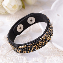Bohemian Gem Rhinestone Wide Leather Bracelet