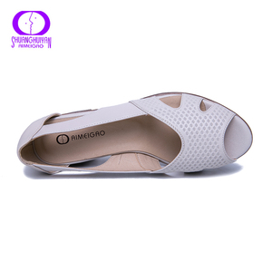 Image 3 - AIMEIGAO New Summer Peep Toe Sandals Comfortable Thick High Heel Sandals Soft Leather Shoes for Women Big Size Summer Shoes