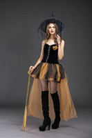 2019 Halloween Carnival Party Black Witch Costume Gothic Cosplay Short Mesh Costumes Women Adult Fantasia Dresses