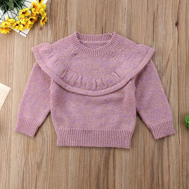4d8b74e594d8 Baby Girls Long Sleeve Ruffles Solid Sweater Jumper For 6 12 18 24 ...