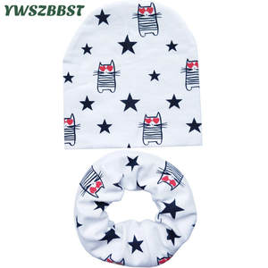 Hat Scarf Beanies-Sets Children Kids Winter New Warm Autumn Neckerchief Spring Cotton