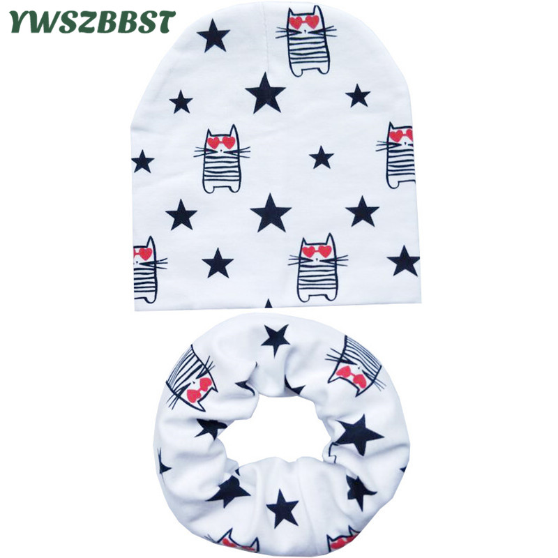 New Autumn Winter Baby Hat Set Boys Girls Neck Scarf Spring Warm Neckerchief Kids Beanies Sets Cotton Children Hat Scarf