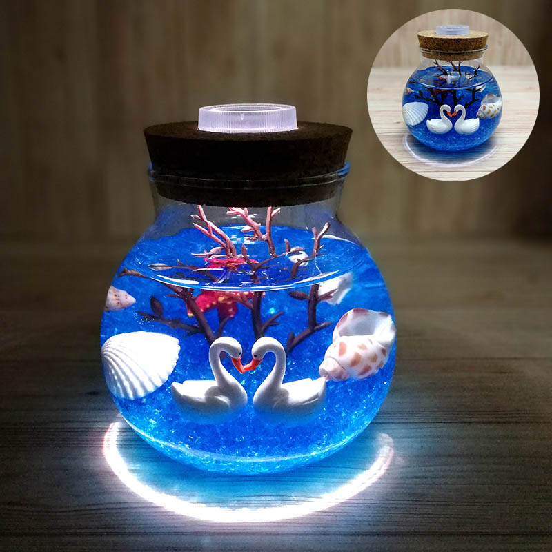 Lights & Lighting Creative Aquarium Night Light Durable Submarine Micro Landscape Simulation Jellyfish Diy Light Led Lamp Valentines Day Gift Led Lamps