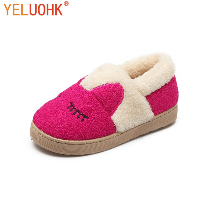Yeluohk Plush Slippers Animals Winter Female Home Slippers Winter Women Slippers Indoor Shoes soft plush big feet pattern winter slippers