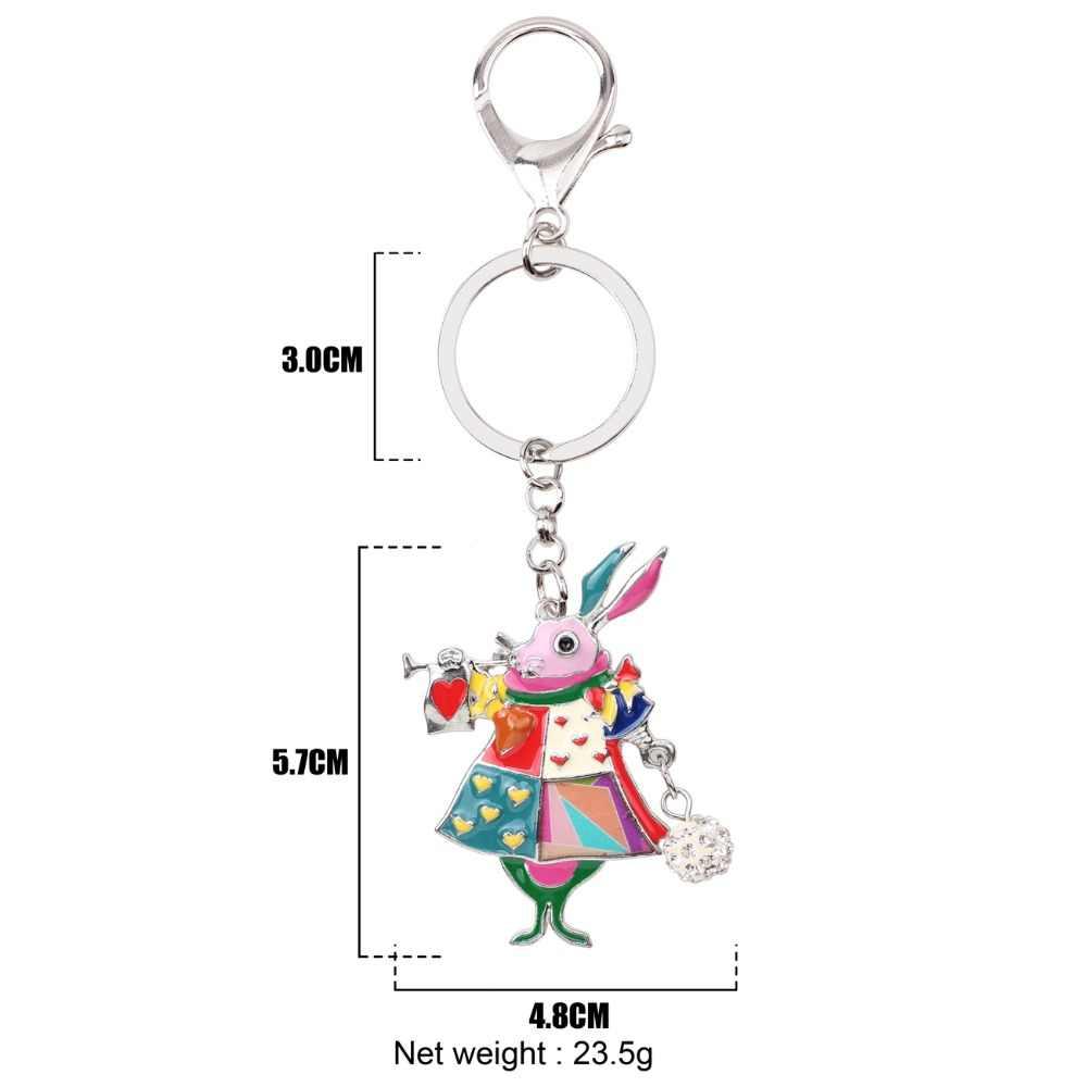Bonany esmalte aleación liebre conejo llavero bolso encanto llavero accesorios nueva moda joyería Animal para mujer