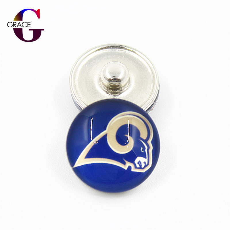 10pcs/lot Sports Football Team Charms Los Angeles Rams Ginger Glass Snap Buttons Fit 18m ...