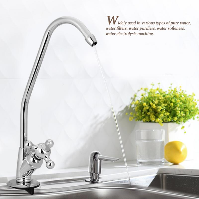 US $8 02 20% OFF|1/4'' Zinc Alloy Goose Neck Faucet Kitchen Faucet Tap  Chrome Reverse Osmosis RO Drinking Water Filter 360 Degree Rotation  Faucet-in