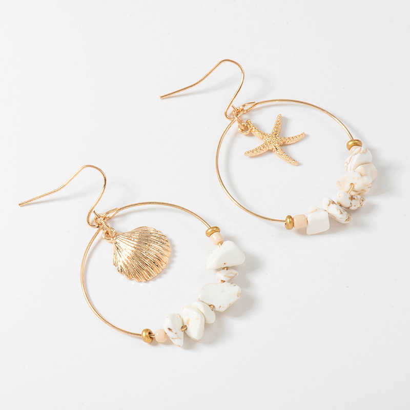 Wild&Free Vintage Gold  Alloy Sea Shell Starfish Dangle Errings For Women Round Circle With Stone Beads Earrings Summer Jewelry