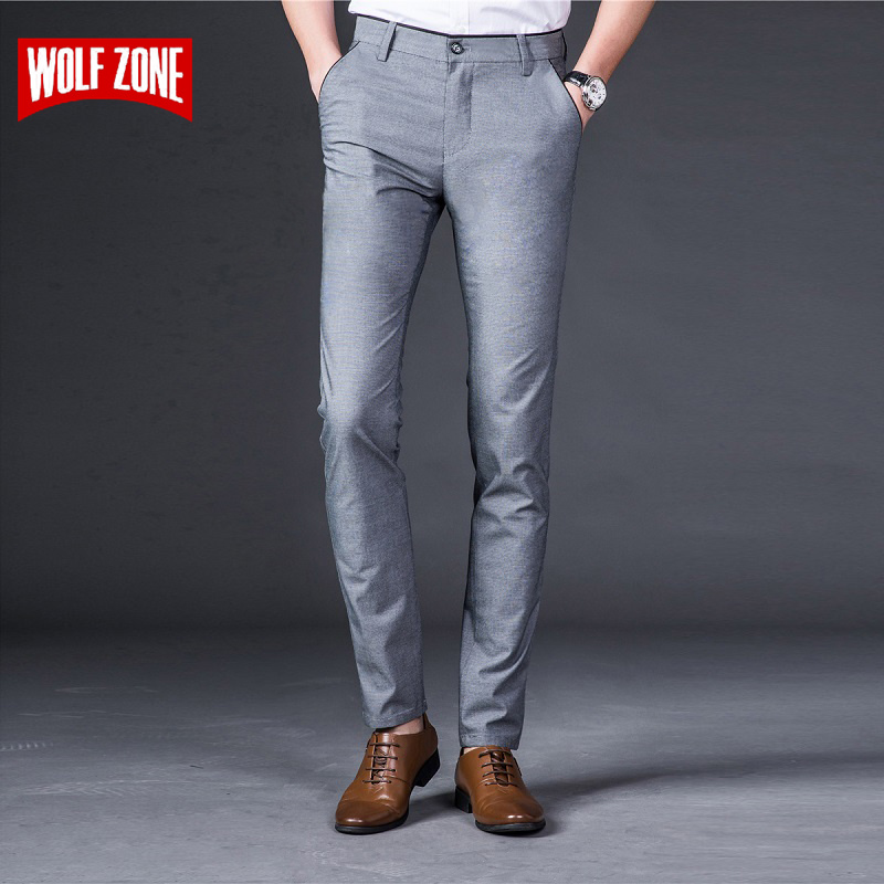 WOLF ZONE Fashion Pants Men 2018 Brand Classic Business Casual Mens Slim Fit Trousers Man Full Length Cotton Clothes Plus Size