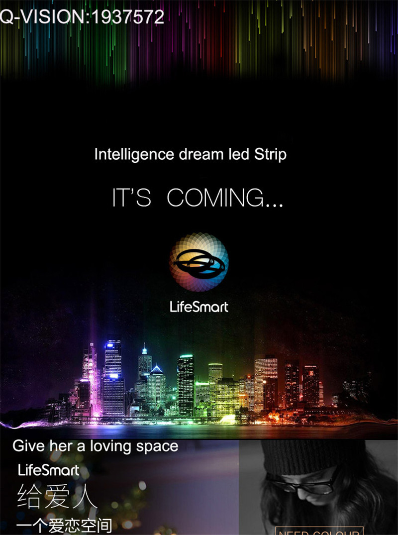 2-Lifesmart New LED Light Strip Wireless Remote Control by Phone16 Million Colors RGB Dimmable Smart Home Automation Customerized