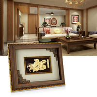 Asklove Lucky Fish Wall art pictures Gold foil painting send friend birthday gifts wall pictures for living room Home decoration
