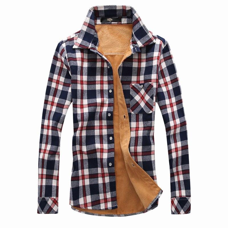 Men Winter Velvet Shirt Fashion Warm Cotton Fleece Lined Thick Long Sleeve Casual Shirt Men Plaid Shirts Size 3XL N-5