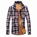 Camisa de Moda Warm Cotton Fleece Forrado de Terciopelo hombres de Invierno Gruesa de Manga Larga Camisa Casual Hombres Plaid Camisas Tamaño 3XL N-5