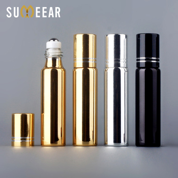 10ml Steel Roller Bottles Essential Oil Bottles Refillable UV Glass Perfume Bottle With Roll On Empty Essential Oil Vial Travel 10ml glass aromatherapy essential oil roller roll on refillable bottles portable travel cosmetic container makeup tools