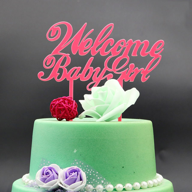 1 Pcs Novelty Welcome Baby Girl Birthday Cake Flags Pink Acrylic