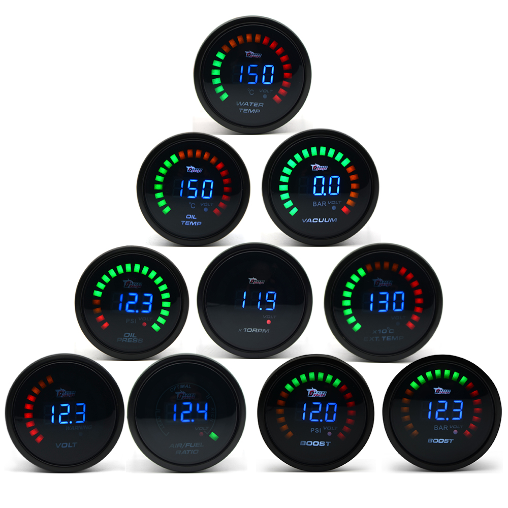 "DRAGON GAUGE 2"" 52mm Boost/Water Temp/Oil Temp/Oil Pressure/Tachometer/Volt/Air  Fuel Ratio/EGT/Vacuum Meter Digital+Gauge Pods-in Boost Gauges from ..."