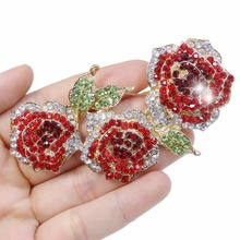 Bella Fashion Gold Tone Red Flower Rose Brooch Pin Austrian Crystal Rhinestone Brooch For Women Party Jewelry Christmas Gift