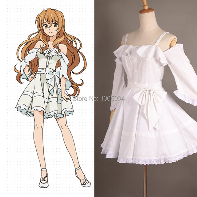 Golden Time Anime Cosplay Kaga Kouko Casual White Sexy Summer Dress For Women Plus Size Custom