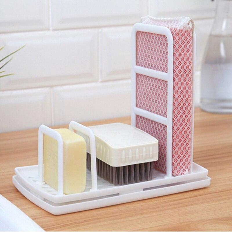 Image 2 - Multi Function Kitchen Desktop Rag Rack Dish Cloth Drain Free Punching Sponge Soap Shelf Storage-in Racks & Holders from Home & Garden
