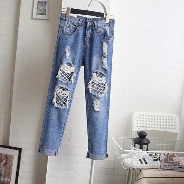 f2e411d0d25eb Women Sexy Big Hole Straight Jeans Female High Waist Ripped Hole Knee  Beggar Denim mesh Pants Trousers mori girl brand
