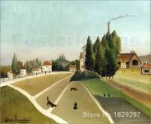 Art mural moderne, Paysage avec usine Um henry – peintures de rousse peintes à la main, de haute qualité