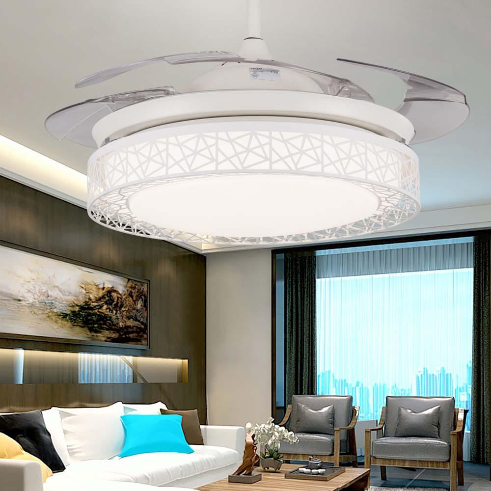 110 v/220 v 42in Moderne Nid d'oiseau Blanc Ventilateur Plafonniers Luminaires Invisible Feuille Led Ventilateur de Plafond lampe Kit avec Télécommande