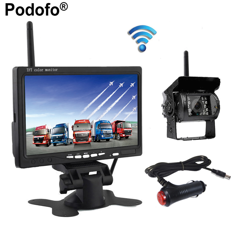 Podofo Wireless 7 Inch HD TFT LCD Vehicle Rear View Monitor Backup Camera Parking System With Car Charger For Truck RV Trailer diysecur 4pin dc12v 24v 7 inch 4 split quad lcd screen display rear view video security monitor for car truck bus cctv camera