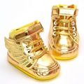 2017 New Fashion Soft Bottom Velcro Angel Cartoon Gold PU Baby Sneaker Shoes Cool Baby Toddler Shoes