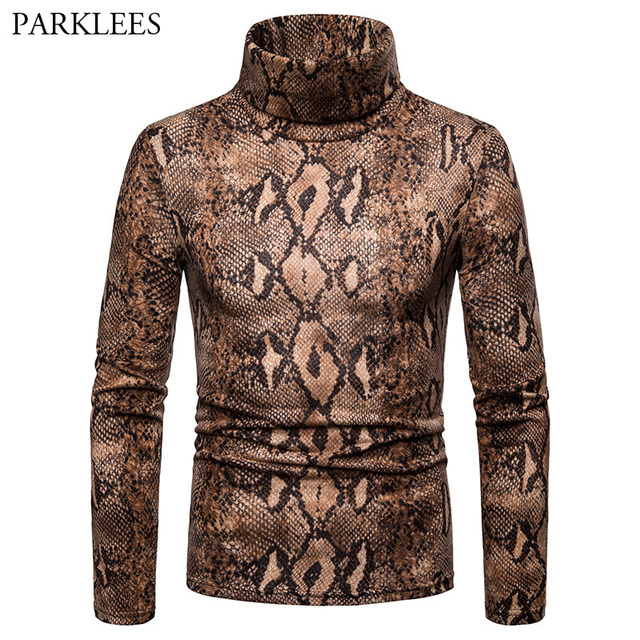 fbca2118cc4 Snake Pattern Turtleneck T Shirt Men Casual Slim Fit Long Sleeve Mens Brown Tshirt  Hip Hop