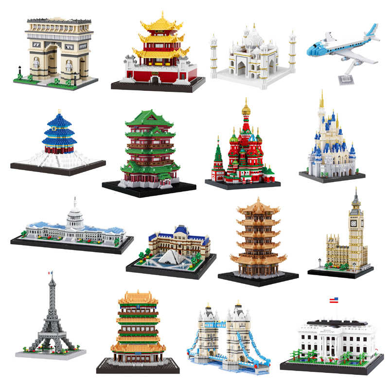 Architecture Diamond Building Nano Blocks Toy Congress Building Eiffel Tower White House Big Ben Louvre Museum Gift Collection