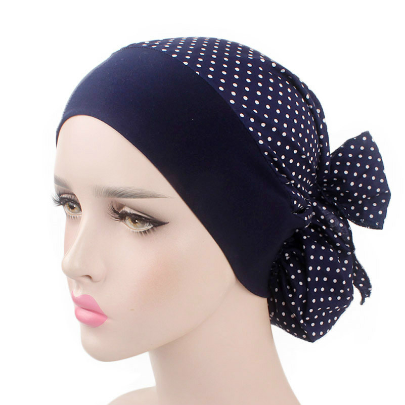 Women Cotton Breathe Hat New Women's Winter Turban Hat Elastic Cloth Head Cap Hat Ladies Hair Accessories Muslim Scarf Cap