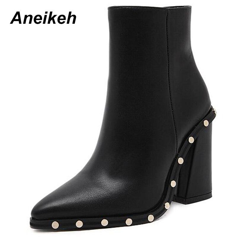 Купить Aneikeh пикантные ботинки на высоком каблуке с заклепками, женские  ботильоны с острым носком, обувь из искусственной кожи на молнии, женские  ос. 0169f977b2d