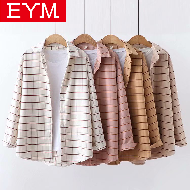 EYM Brand Plaid Shirt Women 2019 Spring New Women Blouse Cotton Long Sleeve Lady Loose Casual Shirt Blouses Female Clothes Tops