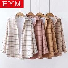 Женская клетчатая блузка EYM, повседневная хлопковая блузка свободного кроя с длинным рукавом, одежда для весны, 2019Блузки    АлиЭкспресс