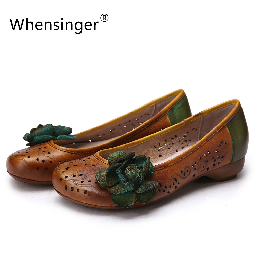 ФОТО Whensinger - 2017 New Woman Shoes Genuine Leather Flats With Flower Hollow Design 022B-308