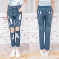2016 New Fashion women jeans woman Light Blue Solid Novelty Skinny Full length ripped jeans For Sexy girl