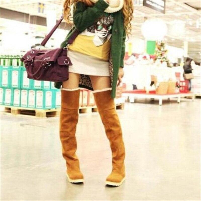Promotion! Women's Over-the-Knee long snow boots 2016 Autumn Winter keep warm cotton plush Platform boots,