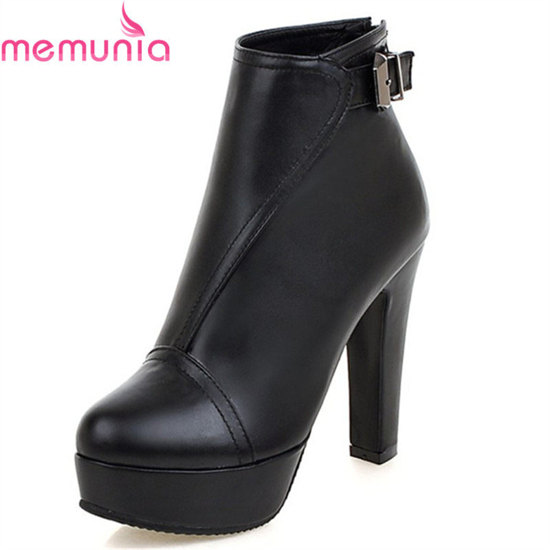 MEMUNIA fashion autumn winter new arrive women boots black red zipper buckle lady ankle boots platform high quality pu