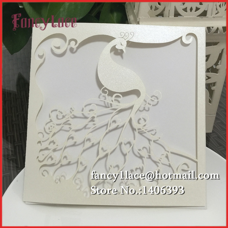 New Arrival 50pcs Peacock Wedding Invitations Laser Cutting Phoenix  Invitation Card For Romantic Wedding With Blank