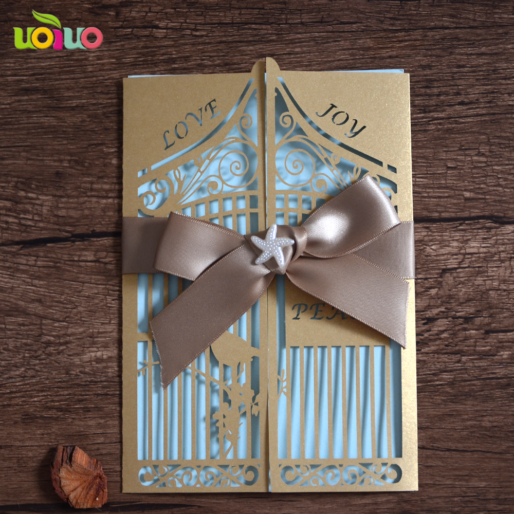 Sweet love bird hot sale wedding invitations 2016 fashion invitation cards with free name logo