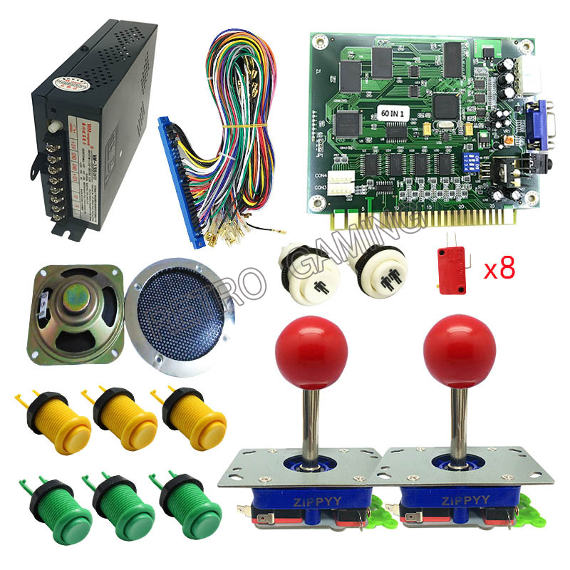 Arcade Bundle Kit Set Jamma Mame Joystick Buttons Speakers w// 645 in 1 PCB Games