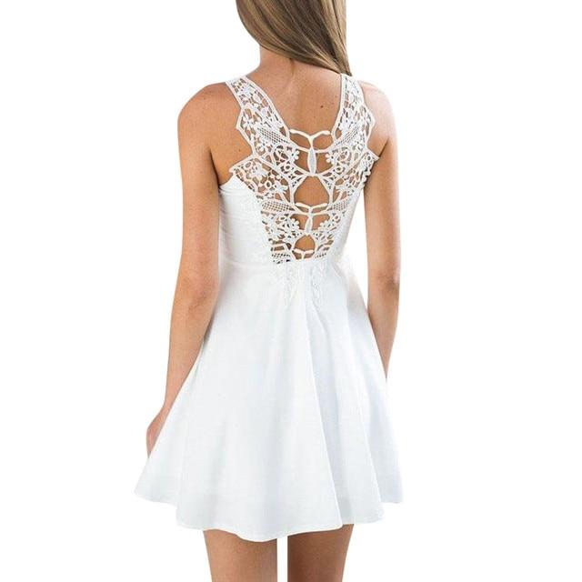 Women Clothes 2019 Boho Vestido Mujer Back Lace Dress Mini Dress Sleeveless Casual Dress Female Party Summer Beach Sundress
