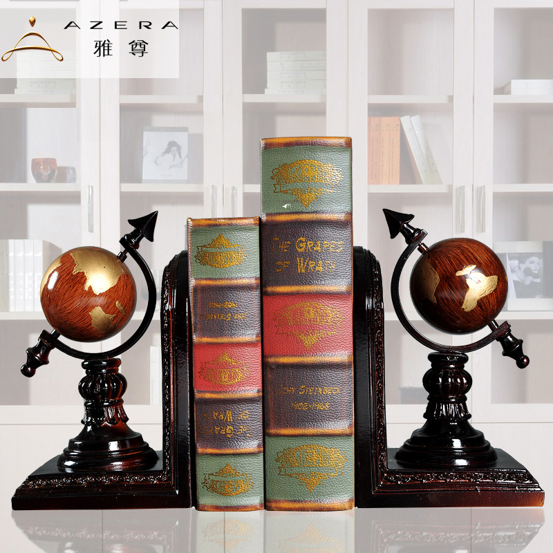 The book retro Home Furnishing ornaments bookend globe Bookends Book study office decoration crafts